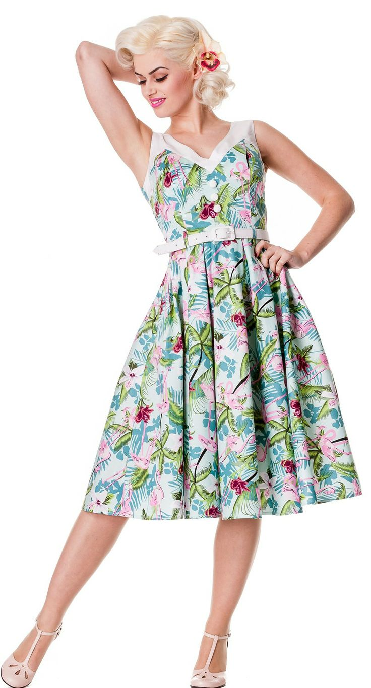 Whether you're strolling around on a sunny day or visiting the local tiki bar, the Larissa dress will lift your spirits like a breath of fresh air! #blamebetty #pinupdress #tropical