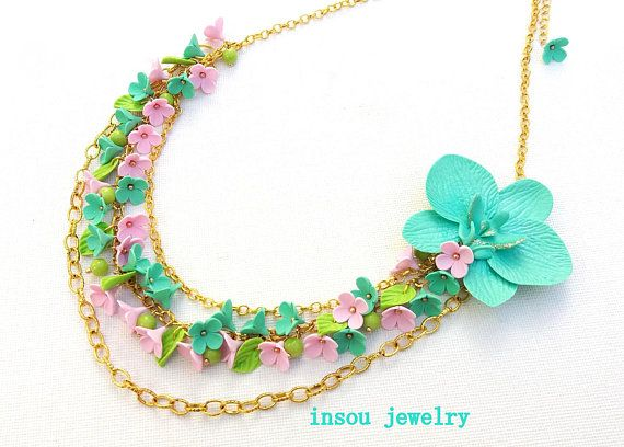 Flower Necklace Multistrand Necklace Statement Necklace