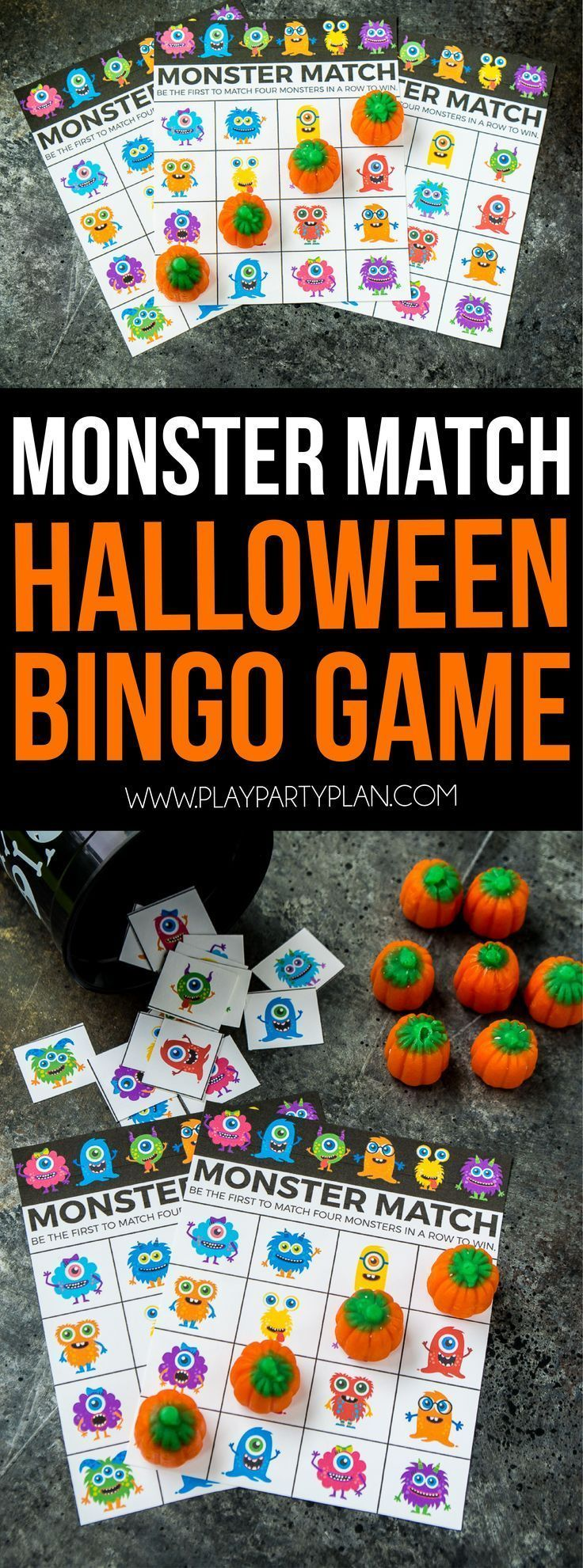This monster match game is one of the cutest Halloween games ever! Play at a classroom Halloween party, Halloween party for children, or even a trunk or treat. Such a fun DIY game that works for toddlers, for preschool, or even for kindergarten aged kids! Cutest Halloween bingo game ever!