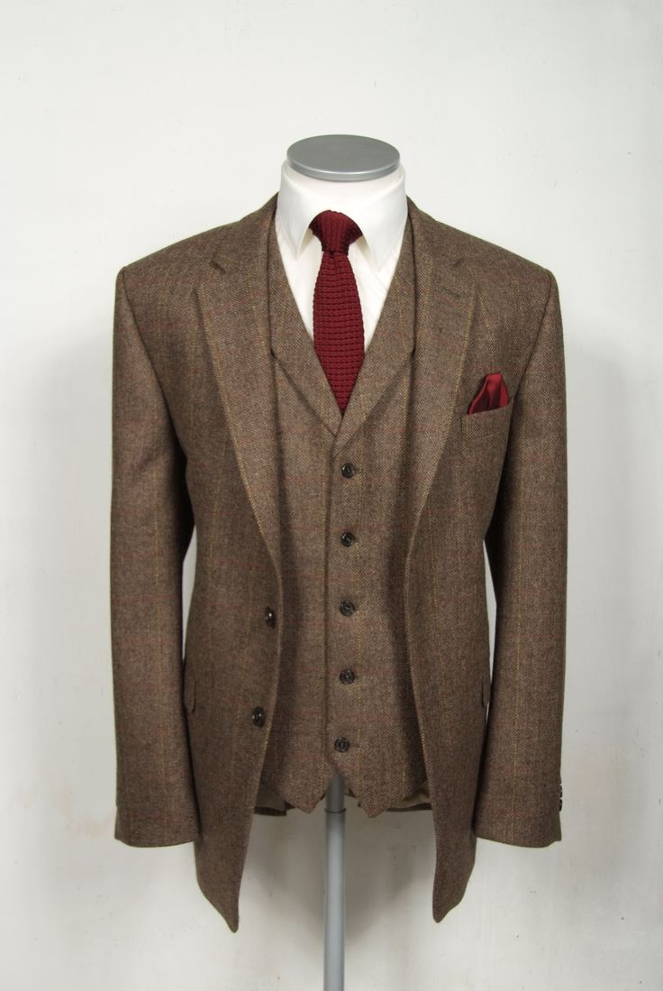 "brown english tweed grooms wedding suit, slim fit with double or single breasted waistcoat. Mens sizes from 32"" chest upward and include extra short, short, regular, long and extra long fittings. Boys sizes from 20"" to 34"" chest. Complete outfit includes jacket, slim fit trousers, matching waistcoat, brand new traditional or French wing slim fit shirt in white or ivory, tie or cravat, braces and cufflinks. £295.00 to hire. groom wedding suit tweed vintage"