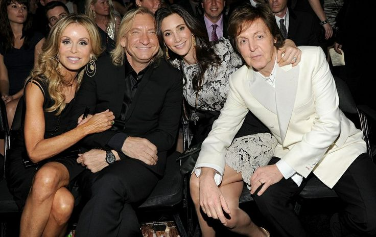 Paul McCartney, Nancy Shevelle-McCartney, Joe Walsh, and his wife Marjorie Bach (at 2012 Grammys)