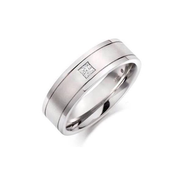 Princess Cut Single Diamond Ring for Men Jl Pt 420 ($889) ❤ liked on Polyvore featuring men's fashion, men's jewelry, men's rings, mens diamond rings, mens diamond band wedding ring and mens band rings