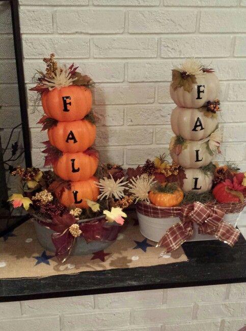 Pumpkin Towers (using Dollar Tree styrofoam pumpkins)