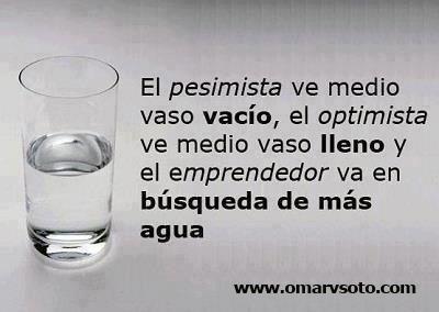 El Pesimista Vé El Vaso Medio Vacio El Optimista Medio Lleno El Emprendedor Vá A Por Mas Agua Glassware Messages Words