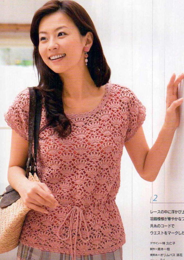 CARAMELO DE CROCHET: blusa rosa calada