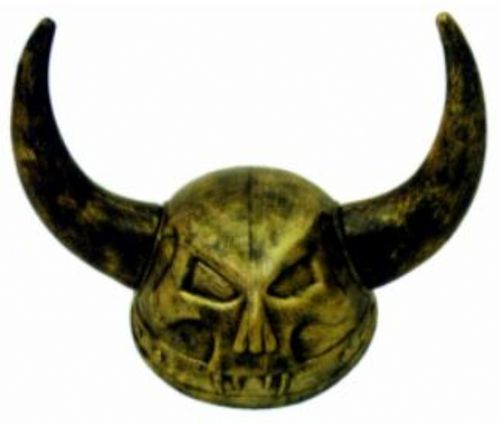 """Skull Viking Helmet - This costume Viking helmet features a fanged death skull on the front that would have even the hardened, grisly characters of the popular show """"Vikings"""" giving a double take. With its aged bronze look, it will go perfect with any distressed leather or dark faux fur costume garments you like. A must-have to take your Viking costume to the next level. #yyc #costume #helmet #viking"""