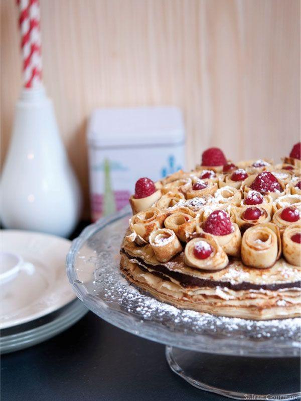 Gâteau de crêpes bouquet de rose ♥  http://www.750g.com/recettes_gateau_de_crepes.htm