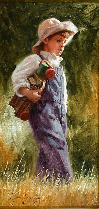 Young boy in coveralls and hat carrying a toy truck, walking through field.  Painting.  His Favorite Toy by Jim Daly