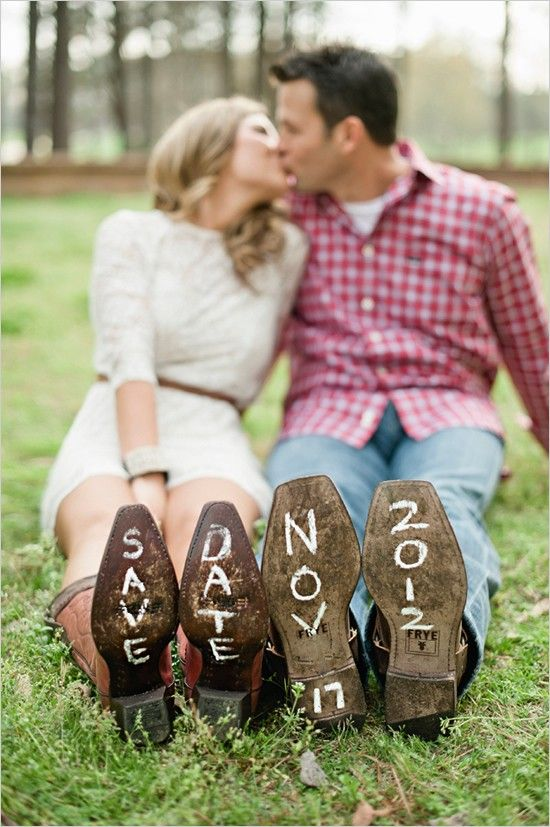 so cute - 40  Unique Save the Date Photo Ideas.  Joe wants pictures in our boots.  I want a cotton field.  Statesboro shoot maybe?!