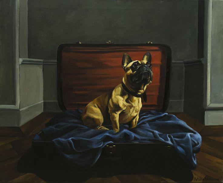 Peinture à l'huile sur toile: Georges le chien