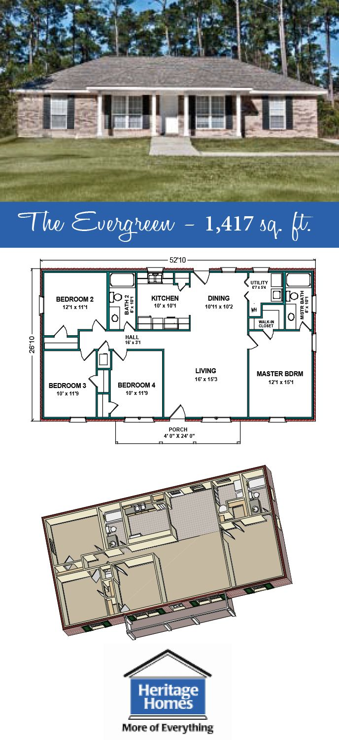 1 400 1 500 Sq Ft Floor Plan The Evergreen Is 1 417 Square Feet Home With 4 Bed 2 Baths This I Craftsman House Plans Floor Plans Ranch Porch House Plans