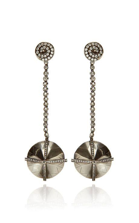 18K Oxi White Gold Drop Earrings by VBH