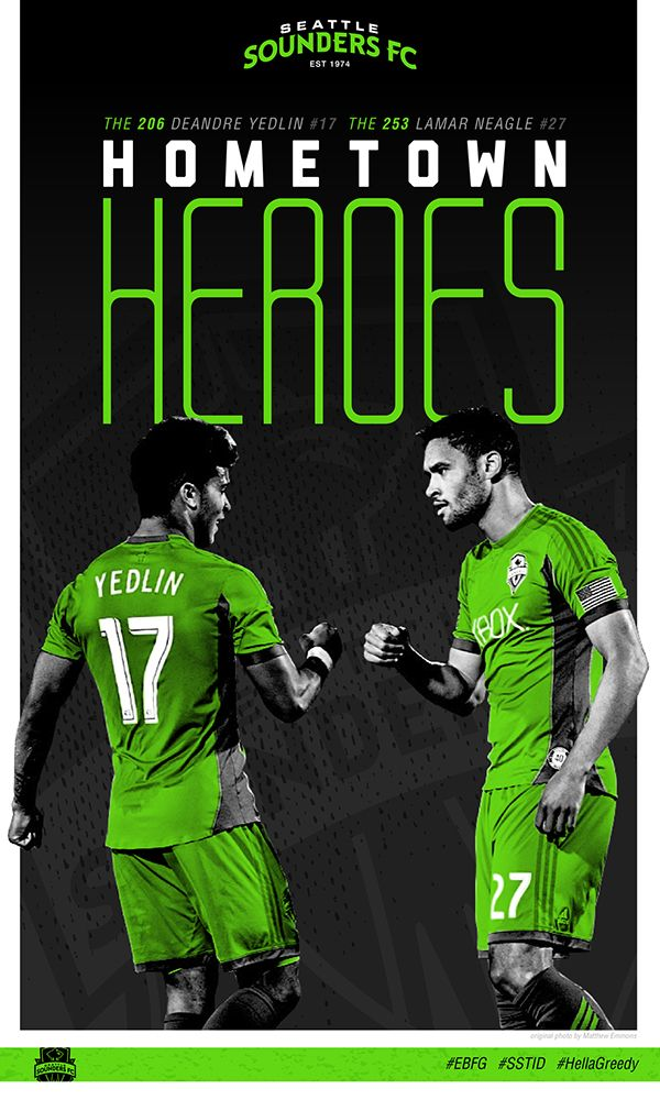 Seattle Sounders Poster Series - Hometown Heroes: Deandre Yedlin and Lamar Neagle - by Justin Lobban #Seattle #Sounders #soccer
