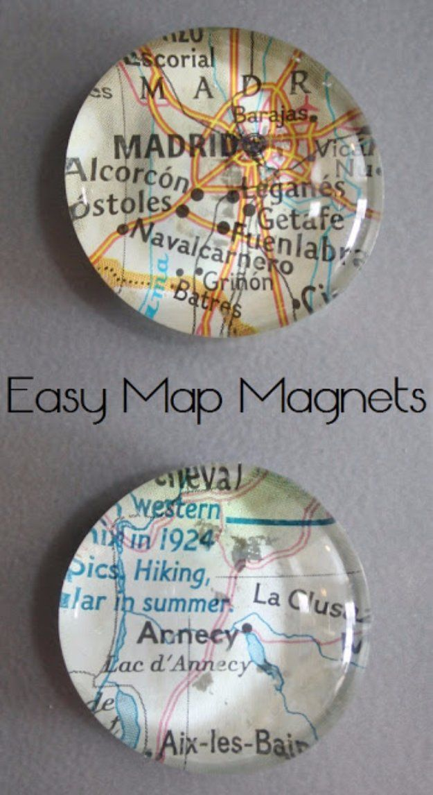 Crafts to Make and Sell - Easy Map Magnets - Cool and Cheap Craft Projects and DIY Ideas for Teens and Adults to Make and Sell - Fun, Cool…