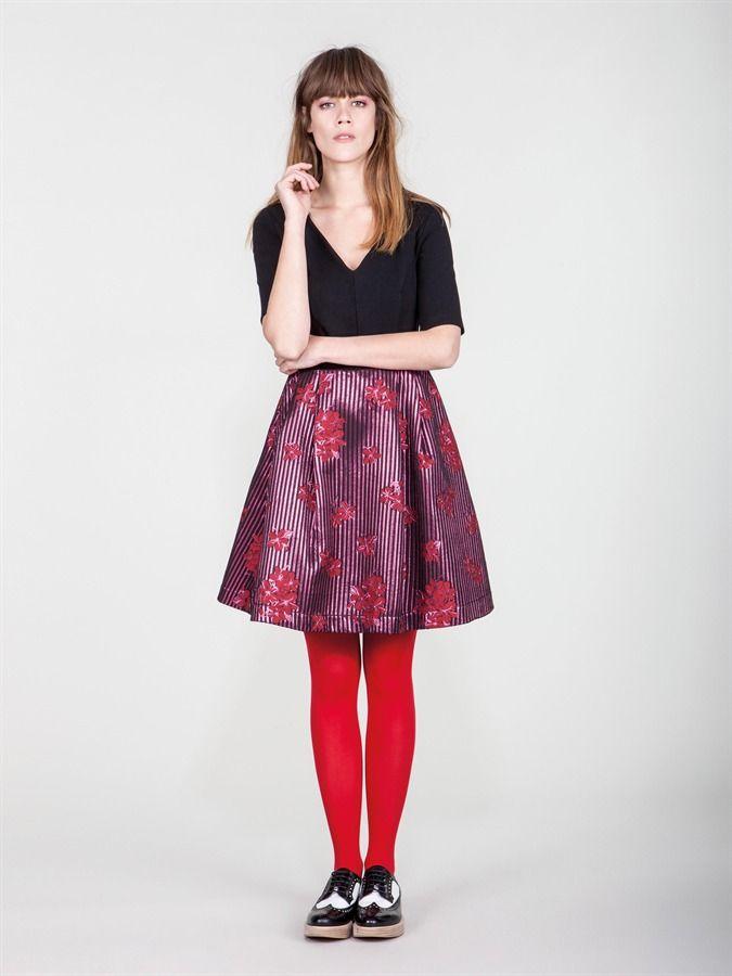 Naughty Dog FW1617 dress V neck dress with jacquard skirt