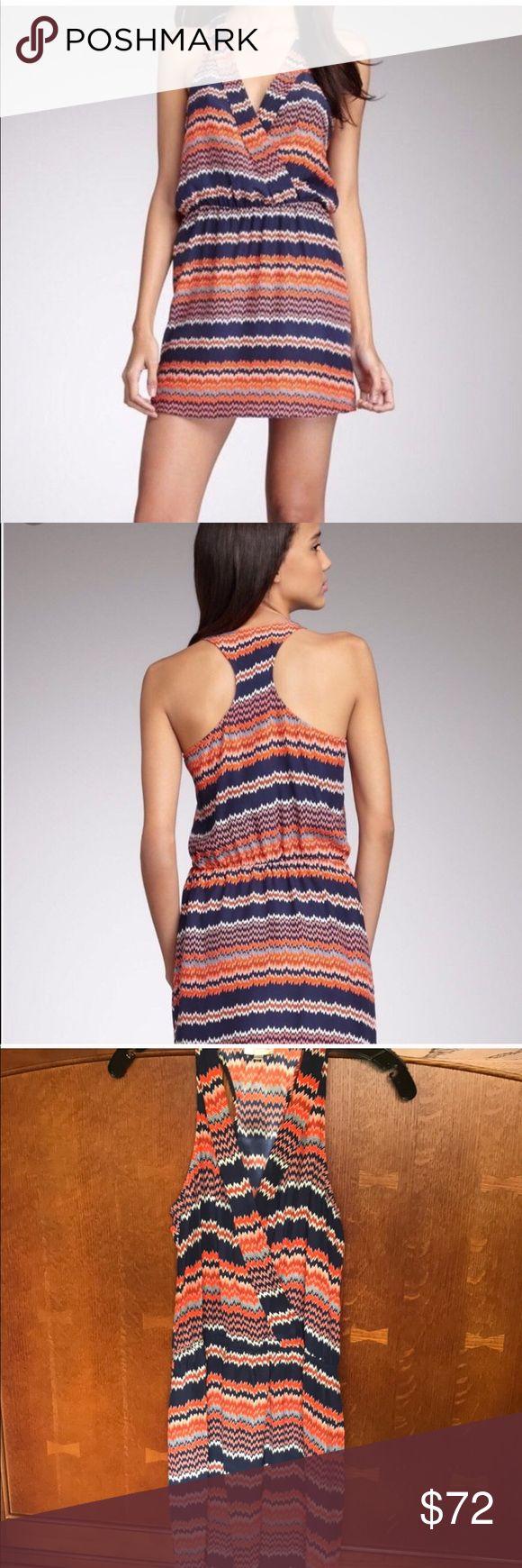 Blue and Orange Parker chevron dress 100% silk Parker dress. Blue and orange chevron print. Elastic waist. Parker Dresses