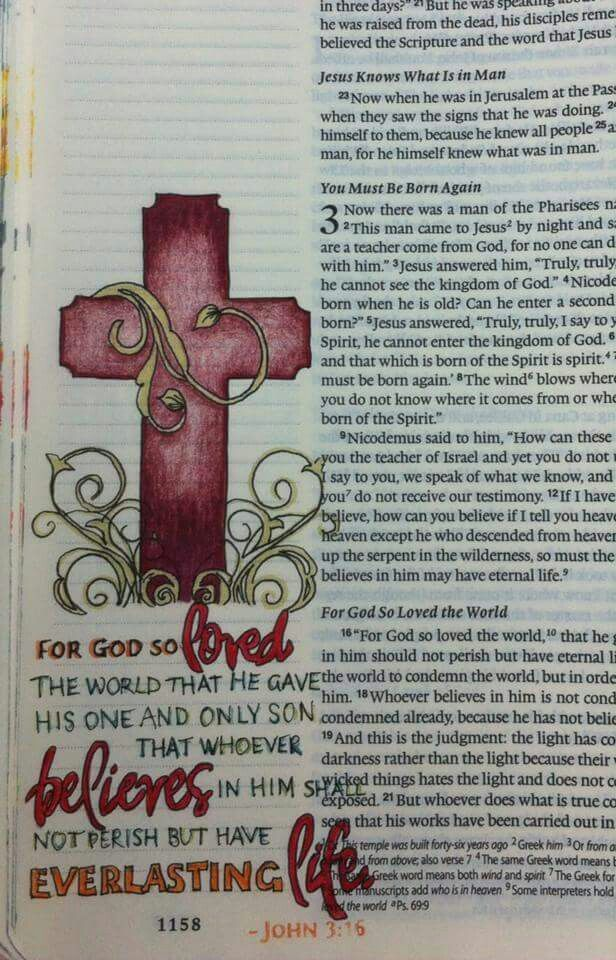 For God so loved the world. .Bible journaling page.
