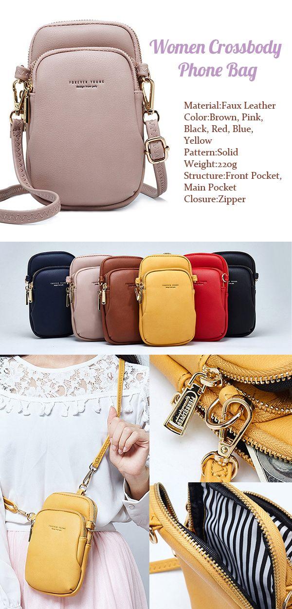 bfbc382a346f  US  16.75 Women Casual Crossbody Bag Solid Phone Bag  crossbodybag   shoulderbag  phonebag