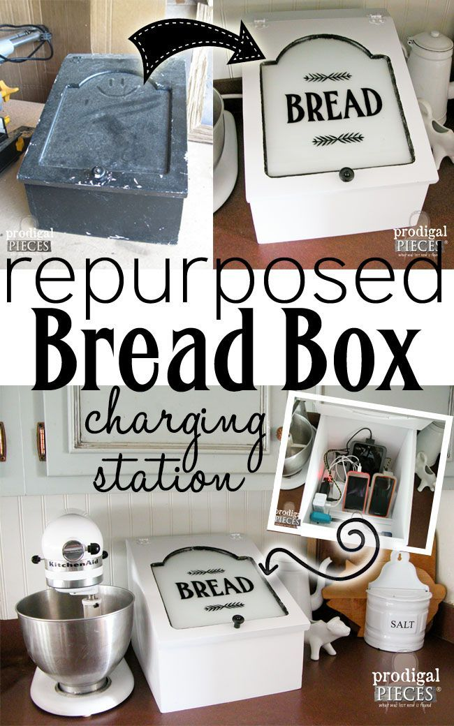 Farmhouse Style Repurposed Bread Box turned Charging Station by Prodigal Pieces | http://www.prodigalpieces.com