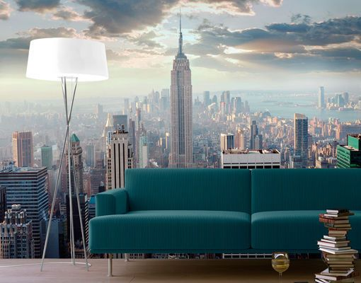 photo wall mural new york sunrise 280x200 wallpaper murals motif xxl poster usa york photo. Black Bedroom Furniture Sets. Home Design Ideas