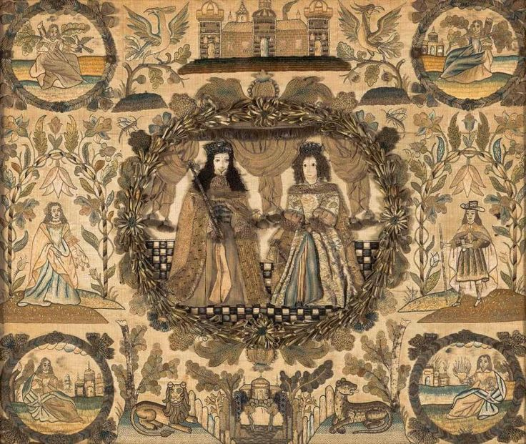 A large and rare Charles II silk embroidered stumpwork panel, English, mid 17th century with a central cartouche of King Charles II and Catherine of Braganza 50cm high x 60cm wide  Provenance  Witney Antiques, England