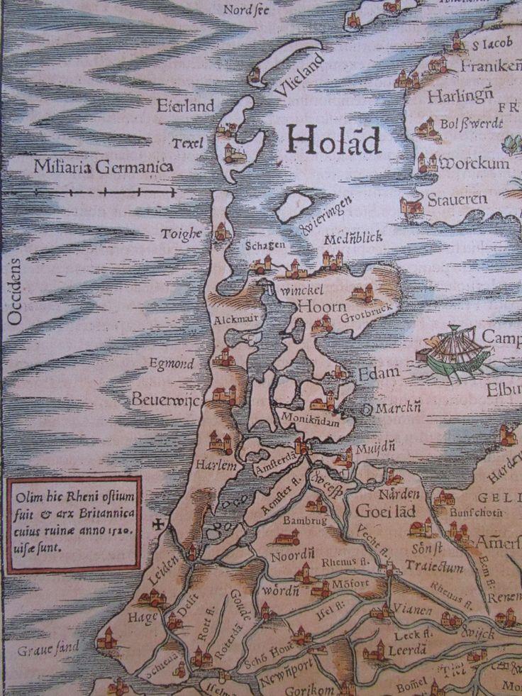 Kaart van Holland uit 1554. het kruisje aan de kust boven Leiden geeft de plaats aan waar de Brittenburg tot in de 16e eeuw  bij eb nog af en toe en kon worden.gezien