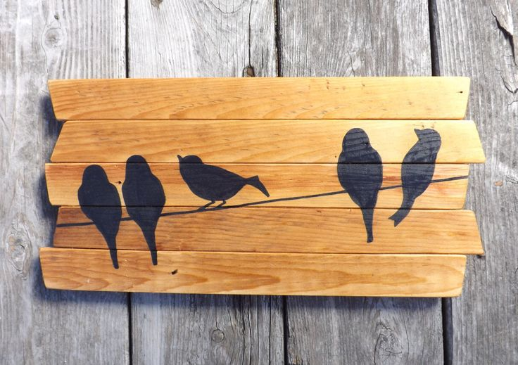 Rustic Wall Art - Birds on a wire - Hand-painted Reclaimed wood wall art by MookieWoodArt on Etsy https://www.etsy.com/listing/218485616/rustic-wall-art-birds-on-a-wire-hand