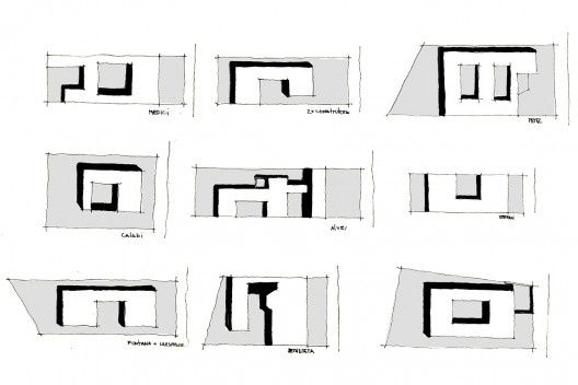 Diagramas das casas Medici (1946), Bernette (1954), Alves (1950), Perez (1957); D'Estefani (1950), Calabi (1945-46), Cremisini (1947), Casas para a construtora (1950), Fontana (1955), Bitencourt II (1959)<br />Marcio Cotrim