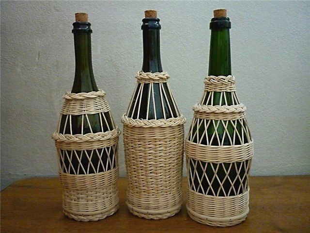 weaving on wine bottles