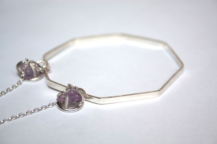 Noctua octagonal bangle with rough amethyst
