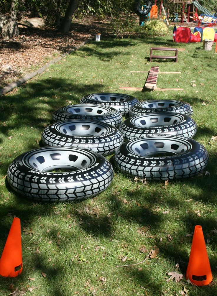 Monster truck obstacle course...these tires were a hit at the party.  We used them as pits for the beanbag toss and the kids sat and played in them all afternoon.  They were a little big for 4 year olds to run through/over without tripping.  Got them on amazon.com