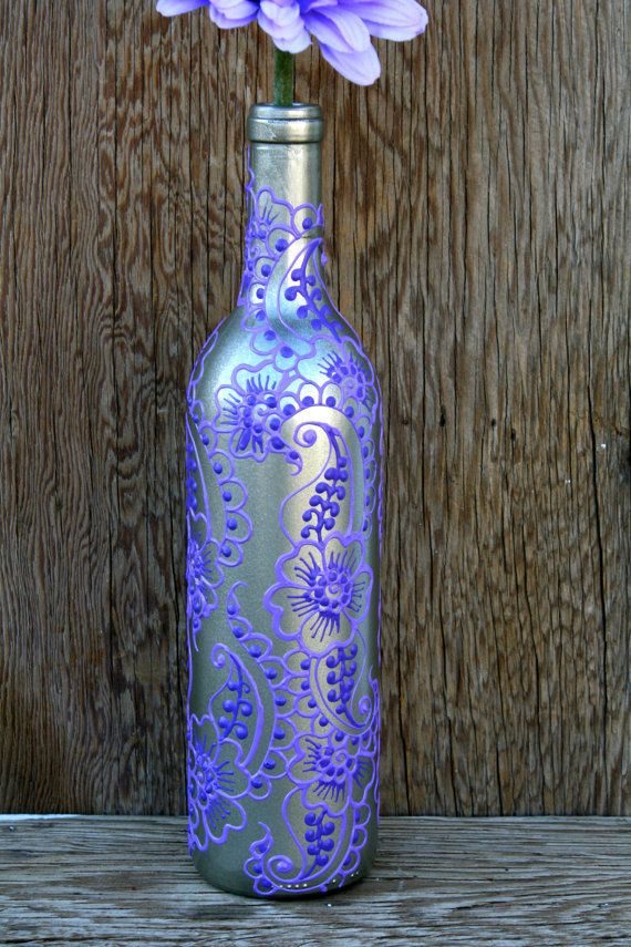 Hand Painted Wine bottle Vase, Up Cycled, Silver and Purple