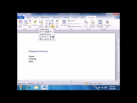 Microsoft Word 2010 Training: Creating a Form