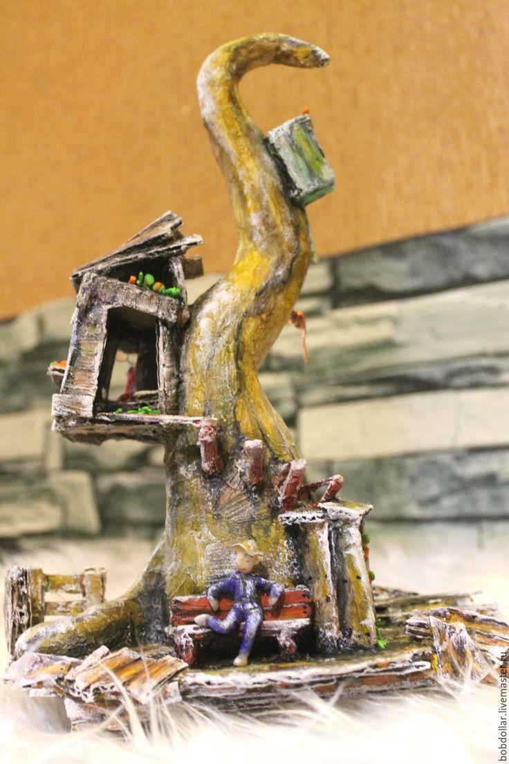 """Купить интерьерная статуэтка из папье-маше""""первый снег"""" - коричневый, дом на дереве, композиция для интерьера"""