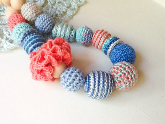 Crocheted Nursing Necklace by Snorkovna 29$  Eco teething toy for baby. Trendy jewerly for breastfeeding mommies. Modern natural hipster accessory.