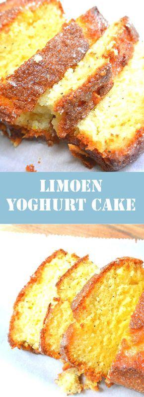 Limoen yoghurt cake. Vandaag gebakken en hij is heerlijk! Er staat 400 gram suiker en dat vond ik wat erg veel en heb er 325 gram bij gedaan en een theelepeltje zout.