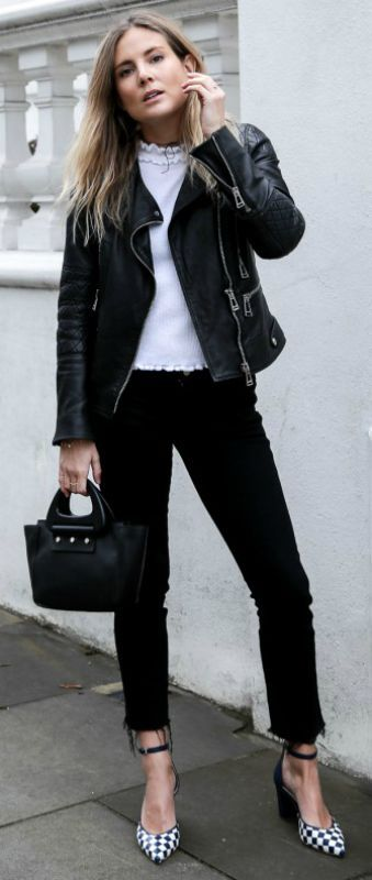 Black and white trend + classic style + cute white knit top + black jeans + leather jacket + Lucy Williams has even got + pair of monochrome checked heels + touch of glam   Top: Asos, Jeans: Old MIH, Jacket: Belstaff, Shoes: LK Bennet.... | Style Inspiration
