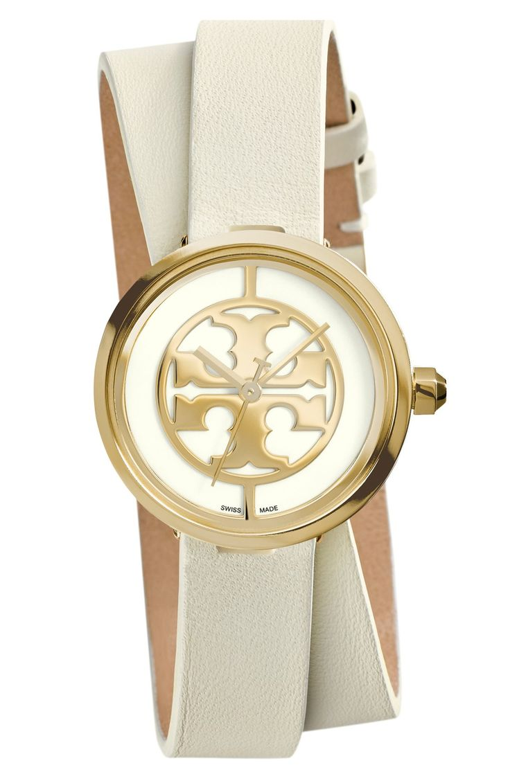 Women S Tory Burch Reva Logo Dial Double Wrap Leather
