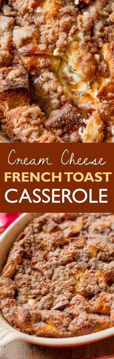 The BEST overnight french toast casserole I've ever had. Stuffed with sweet cream cheese and topped with streusel! Found on sallysbakingaddiction.com