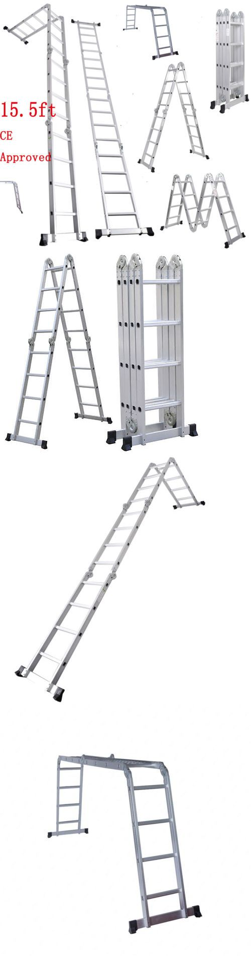 Ladders 112567: 15.5Ft Multi Purpose Aluminum Folding Step Ladder Scaffold Extendable Heavy Duty -> BUY IT NOW ONLY: $81.6 on eBay!