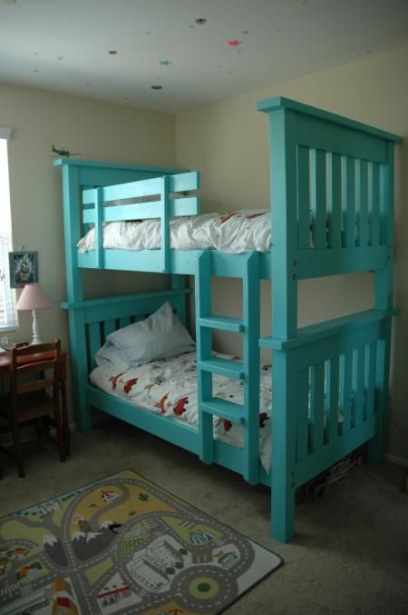bunk bed from simple bed modified do it yourself home projects from ana white our two girls. Black Bedroom Furniture Sets. Home Design Ideas