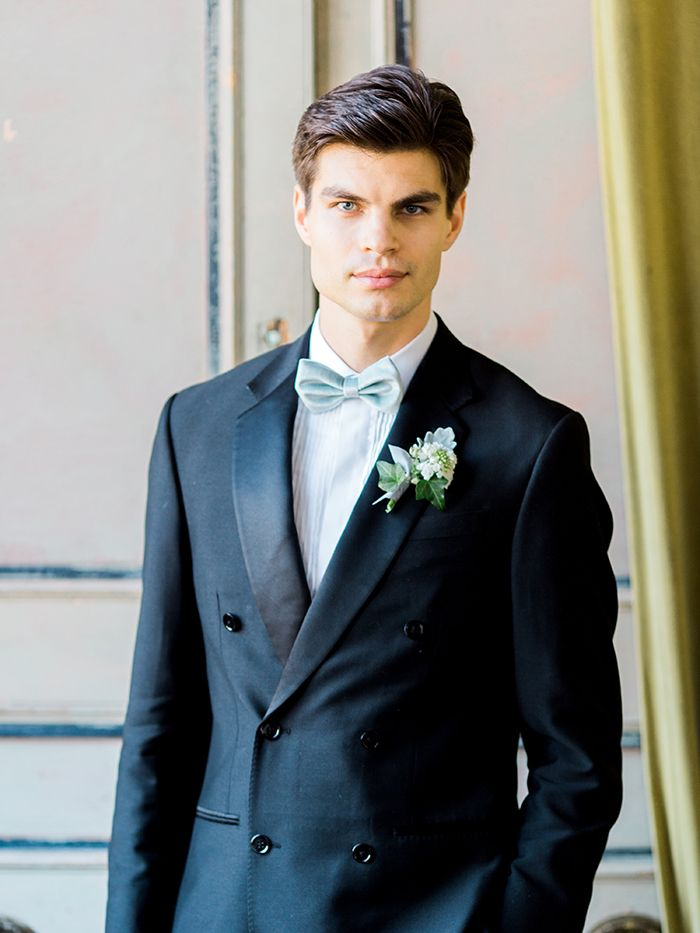 Double Breasted Navy Blue Suit with a Bow Tie    #wedding #weddings #fineartweddings #weddingideas #filmphotography #groom #suit