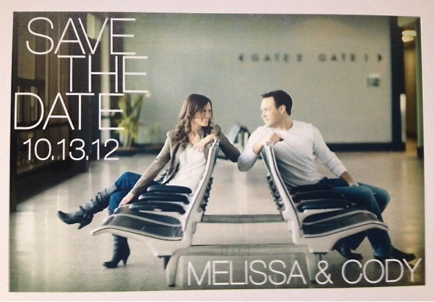 Save the Date postcard! Engaged on a plane, engagement pics shot at the airport :)