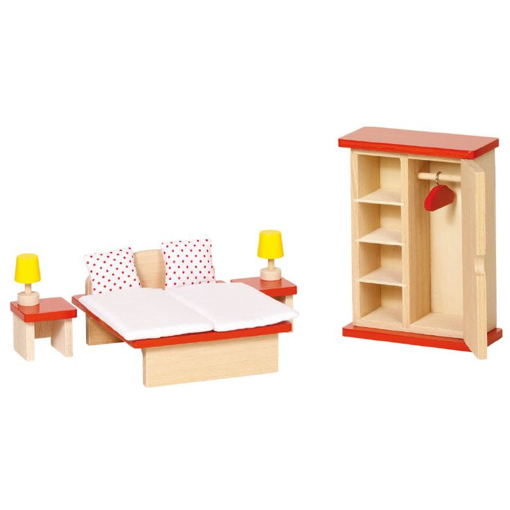 Houten slaapkamer meubeltje voor in het poppenhuis van Goki!