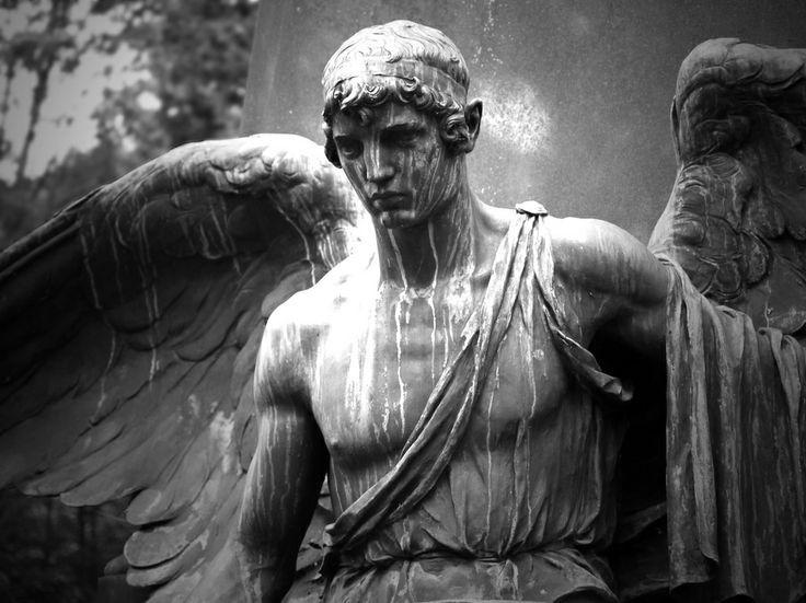 Beautiful warrior Angel / North Cemetery, Wiesbaden, Germany.