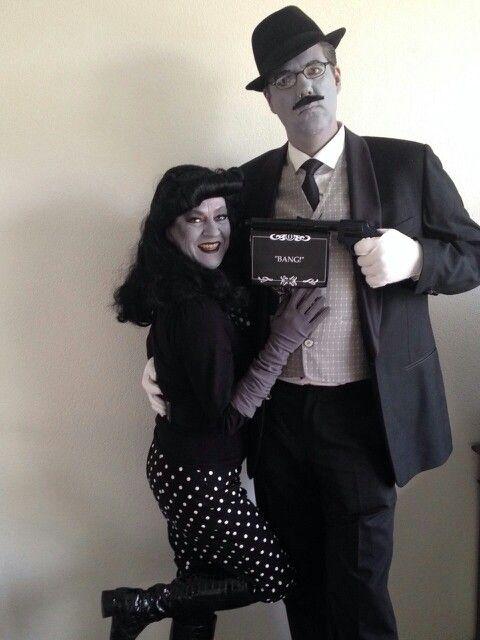 Black and white duo costume idea. Grey scale. Zwart wit filmster kostuum.