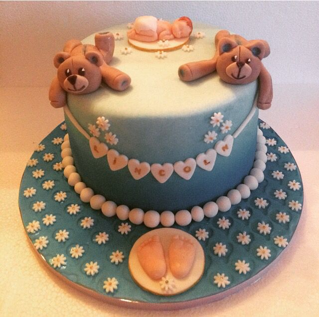 Christening Cake with Teddy Bear and Baby