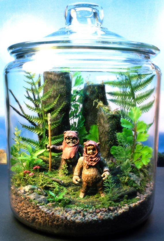 Ewok Duo  Endor Forest Terrarium  Star Wars  Return by Megatone230. Love despite the plants being fake.