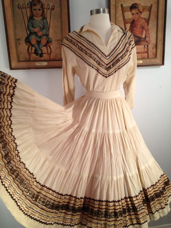 Beautiful 1950s Cream Squaw Patio Dress  Gold Ric Rac And Ribbon Trim