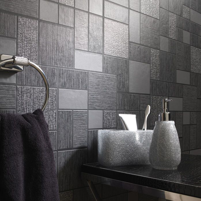A beautiful tile effect wallpaper in black perfect for a modern kitchen or bathroom. It features a subtle glitter effect that sparkles wonderfully without overpowering the design.  £12.99 per roll (10.05m x 53cm)